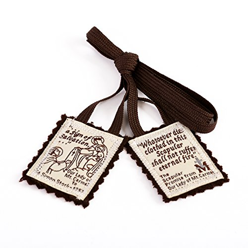 Catholic Necklace - Brown Scapular Mt. Carmel 100% Wool Made in USA Handmade Quality (Single)