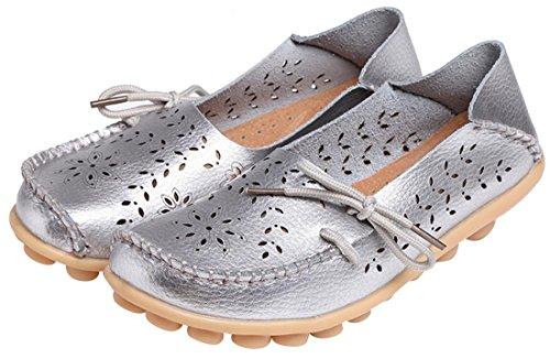 UJoowalk Frauen Leder Rindsleder aushöhlen Casual flache Fahr Schuhe Slipper Silber
