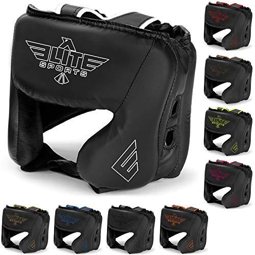 Elite Sports New Item Boxing Head Guard, Sparring Kickboxing, MMA, Muay Thai Headgear Kick Brace Head Protection (White)