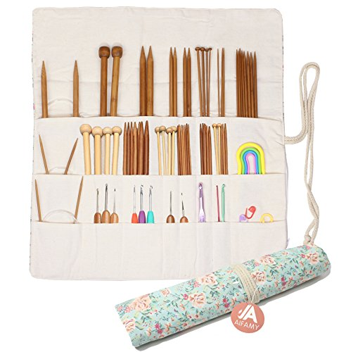 Knitting Needles Holder Case Rolling Organizer for Crochet Hooks Accessories (Sweet Floral) by A AIFAMY