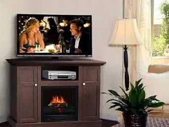 corner electric fireplace tv stand entertainment center dark brown clothing. Black Bedroom Furniture Sets. Home Design Ideas