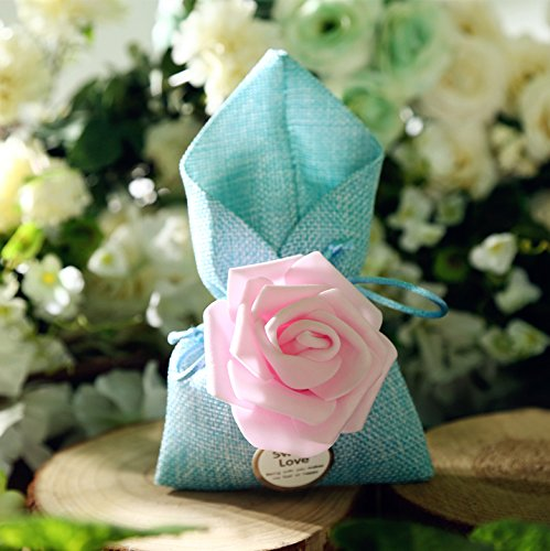 20pcs Wedding Party Favour Candy Bags and Baby Shower Favour Gifts Drawstring Drawstring Bags (3.546.88 inch, Blue) by Sopeace