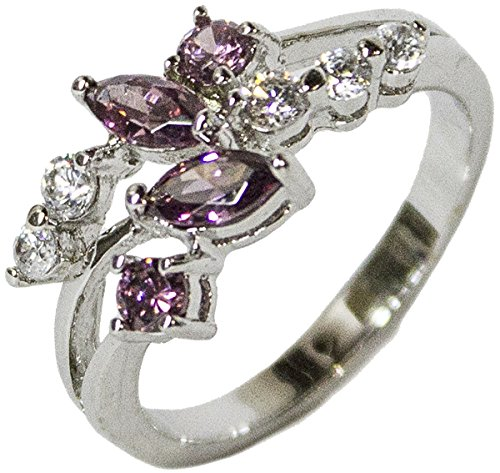 - Women's Rhodium Plated Dress Ring Pink Marquise CZ Leaf Pattern 103 (10)