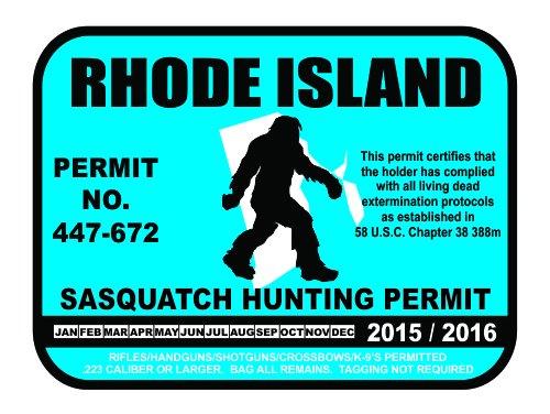 Rhode Island Sasquatch Hunting Permit License Bigfoot Vinyl Sticker Decal