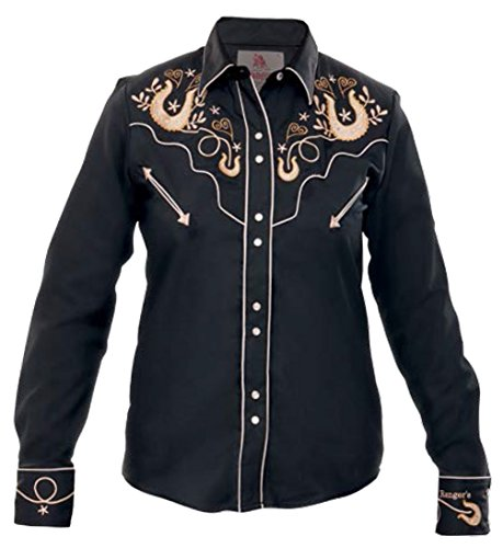 Hearts Sleeved Horseshoes Camisa Modestone Embroidered Western Women's Vaquera Black Long Fxp8n74q