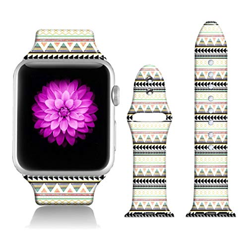 - FTFCASE Sport Bands Compatible with iWatch 38mm/40mm Aztec Stripes, Flower Printed Soft Silicone Strap Replacement for iWatch 38mm/40mm Series 4/3/2/1 Women Men