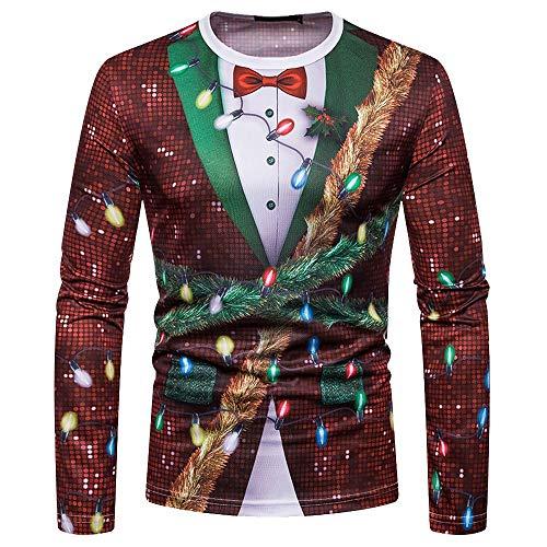 Larga Kimonos Cuello Navidad Bbestseller Imprimiendo Camisas Pullover Verde Hombres Para Camiseta De Manga Casual Jersey Sweatshirts Blusa Redondo Iaq78q