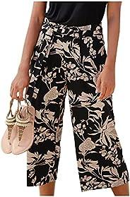 Women's Boho Wide Leg Pants Floral Print Palazzo Pants Vintage Casual Loose Beach Baggy Lounge P