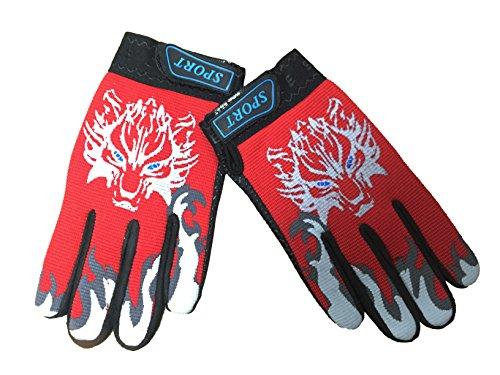 Bike Cycling Gloves for Children Full Finger Non-slip Breathable Kids Gloves Warm Sport Mittens (Red) (Wolf Snow Snow Shovel)