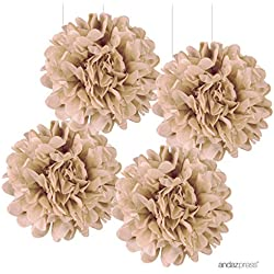 Andaz Press Large Tissue Paper Pom Poms Hanging Decorations, Kraft Brown, 14-inch, 4-Pack, Burlap Natural Outdoor Wedding Decor Colored Birthday Party Supplies