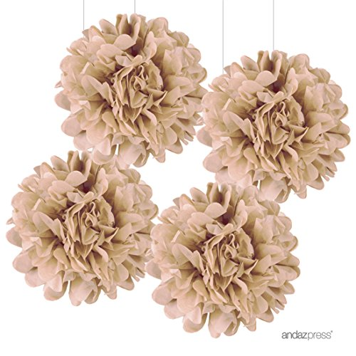 Andaz Press Large Tissue Paper Pom Poms Hanging Decorations Kraft Brown 14inch 4Pack Burlap Natural Outdoor Wedding Decor Colored Birthday Party Supplies