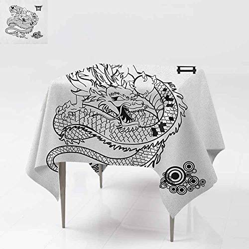 SONGDAYONE Polyester Square Tablecloth Japanese Dragon Tattoo Art Style Mythological Dragon Figure Monochrome Reptile Design Leakproof Black White W54 xL54