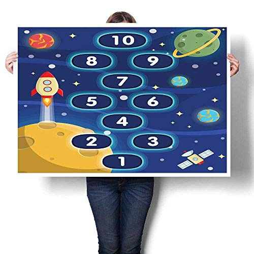 J Chief Sky Kids Activity Canvas Print Wall Art Children Activity Hopscotch Game in Space Science Fiction Themed Cartoon Canvas Prints Wall Art Multicolor 20