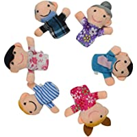 Deals India Family Finger Puppet Mama, Papa, Grandma, Grandpa, Sis, Brother, Red (Set of 6)