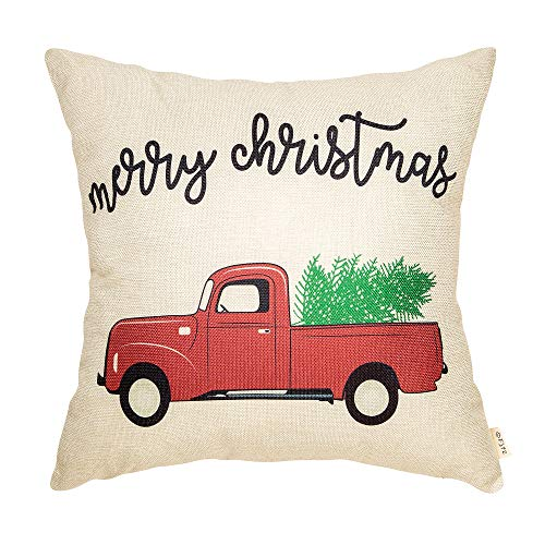 Fjfz Rustic Merry Christmas Red Vintage Truck with Tree Winter Holiday Sign Gift Cotton Linen Home Decorative Throw Pillow Case Cushion Cover with Words for Sofa Couch, 18 x 18