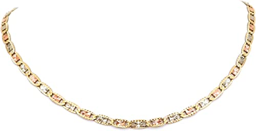 """17/"""" 2.5mm Diamond Cut Bead Cross Rosary Chain Necklace Real 14K TriColor Gold"""
