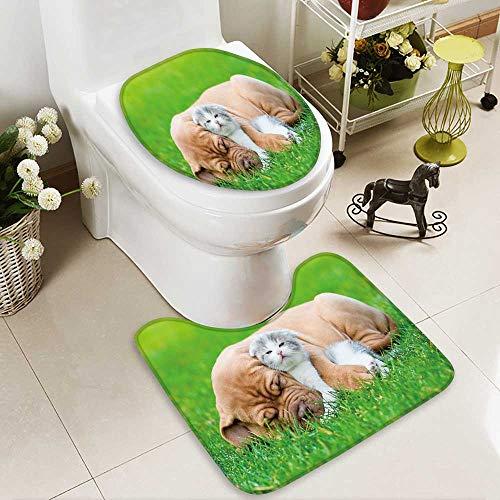 aolankaili Soft Toilet Rug 2 Pieces Set Sleeping Bordeaux puppy dog hugs newborn kitten on green grass ()