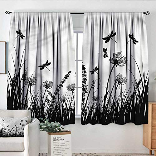 Anzhutwelve Nature,Girs Room Backout Curtains Grass Bush Meadow Spring 42