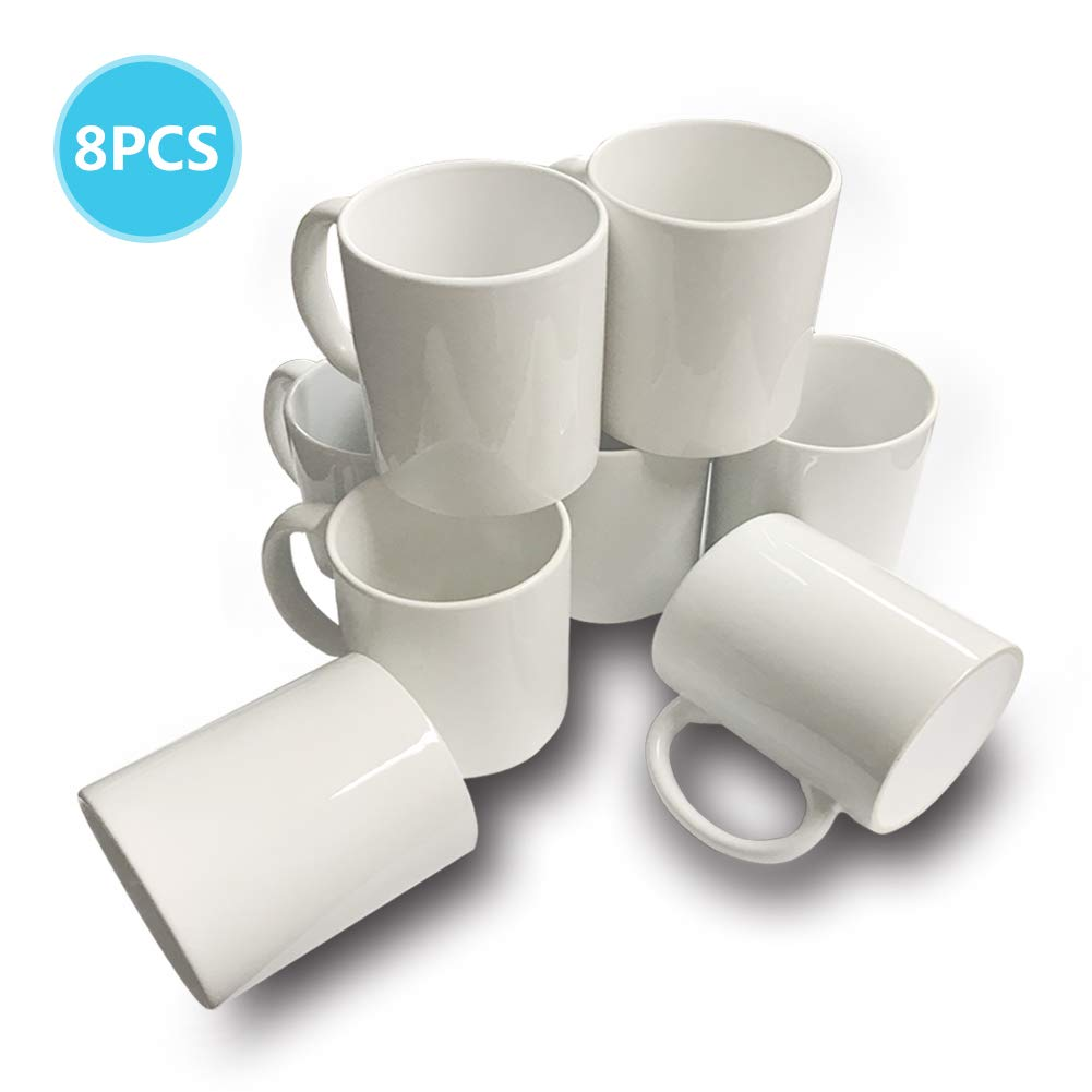 8 PCS Mugs 11 OZ Sublimation Mugs Blank White Mugs Coated Ceramic Cups Christmas DIY Mugs by UOhost