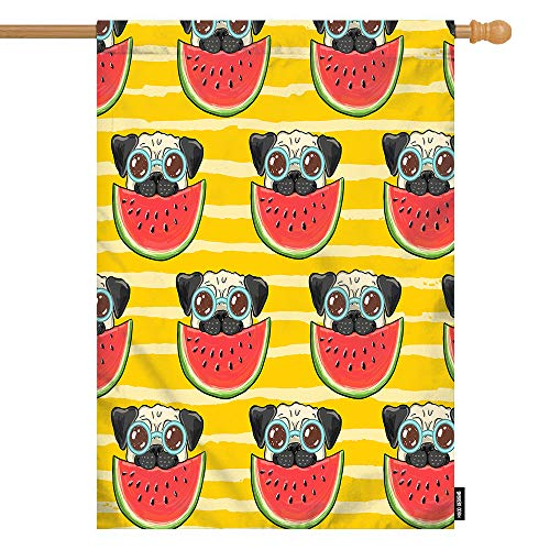 HGOD DESIGNS Pug House Flag,Funny Pug Dog in Sunglasses Eating Watermelon Welcome Decorative House Flags Cotton Linen Waterproof for Garden Banner 28