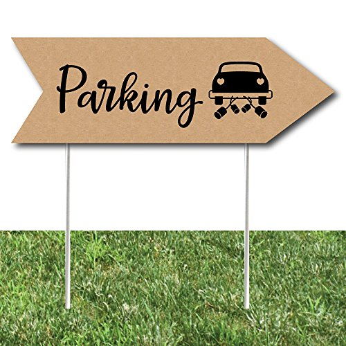 Rustic Wedding Parking Signs - Wedding Sign Arrow - Double Sided Directional Yard Signs - Set of 2 Parking (Party Directional Sign)