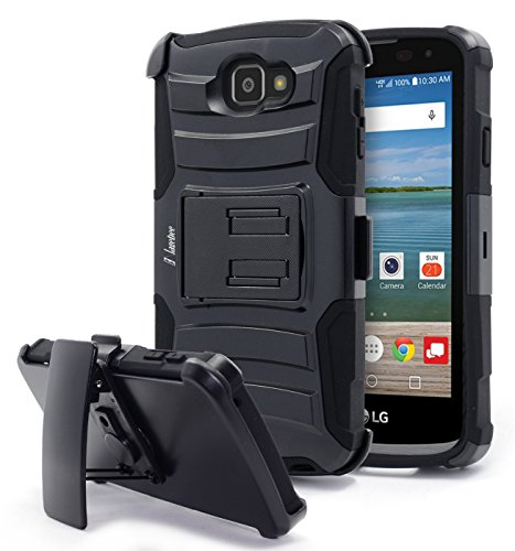 LG Optimus Zone 3 Case, Rebel LTE / Spree / K4 Case, NageBee [Heavy Duty] Armor Shock Proof Dual Layer [Swivel Belt Clip] Holster with [Kickstand] Combo Rugged Case (Black) (Outter Box For A Lg Optimus)