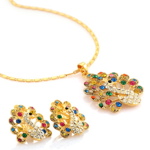 Womens Royal Peacock Pendant Necklace & Earrings Maharaja Contemporary Set, Swarovski Crystal Elements Jewellery, 14k Gold or Silver Rhodium. Gift for Christmas, Anniversary, Wedding by Janeo ()