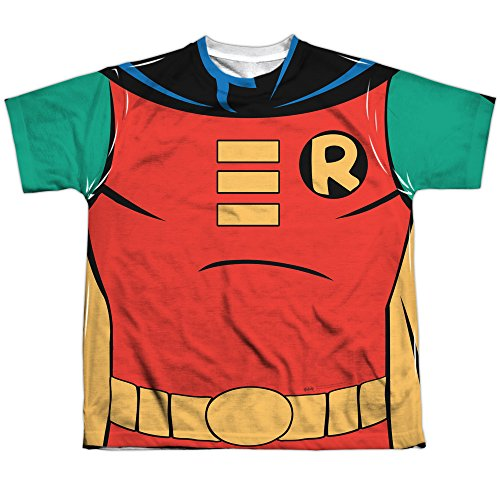 Trevco Batman: The Animated Series Robin Uniform Youth or Boy's Front Only Sublimated T Shirt (Only T-shirt Medium Youth)