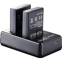 TOP-MAX 2 Pack EN-EL14 Battery and Dual LED Charger for Nikon EN-EL14 Nikon EN-EL14a and Nikon Coolpix P7800 P7700 P7100 P7000 Nikon Df Nikon D5600 D5500 D5300 D5200 D5100 D3400 D3300 D3200 D3100