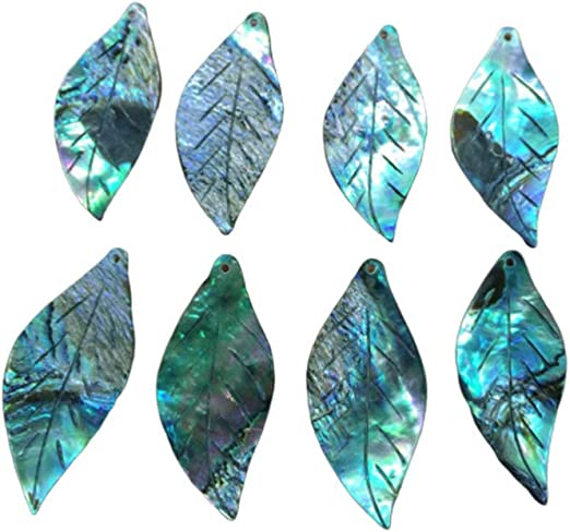 SUPVOX 8pcs Abalone Shell Leaf Charms Pendents for DIY Jewelry Making Necklace Bracelet Nautical Gifts