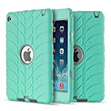 iPad Mini 4 Case,Shockproof Silicone and PC Hybrid Heavy Duty Full-Body Protective Bumper Case Cover [ Screen Protector Bonus ] for iPad Mini 4 ( Model A1538 A1550 ) - Grey/Mint
