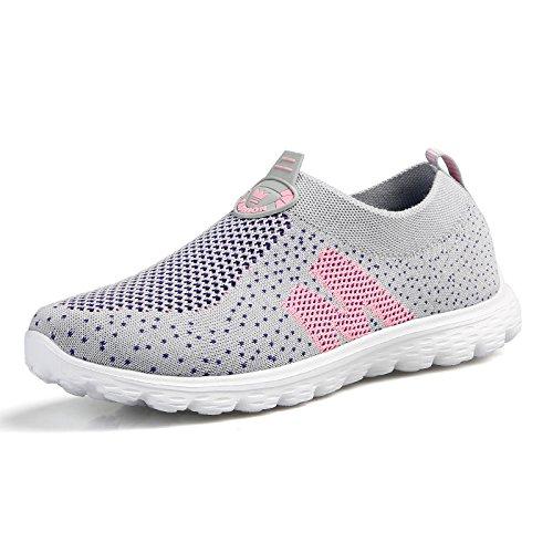 Hasag Verano Respirable Comodidad Zapatos de Red de Mediana Edad Hembra Antideslizante luz Madre Zapatos Deportivos Zapatos de Tela Femenina Light gray powder