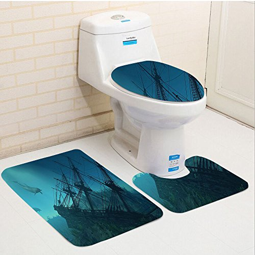 Keshia Dwete three-piece toilet seat pad customOcean Nautical Shipwreck Underwater with Dolphins in Ruins of Sunken Ship Mystery Treasure Diving Themed Inch Blue