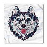 Lunarable Husky Bandana, Tribal Dog Showing Tongue, Unisex Head and Neck Tie