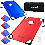 Juegoal 3'x2' Portable Cornhole Set, PVC Framed Corn Hole Toss Game with 2 Cornhole Boards, 8 Bean Bags, Carrying Bag for Indoor Outdoor Yard Beach Game