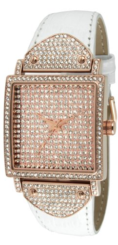 (Peugeot Couture Women Crystal Square Shape Watch with Leather Band Strap)