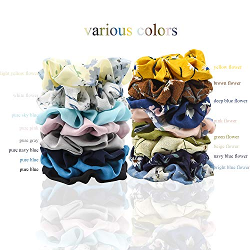 EAONE 16 Pieces Chiffon Hair Scrunchies Flower Hair Scrunchies Ties Hair Bobbles Ponytail Holder with Pouch Bag for Women Girls, 16 Colors by EAONE (Image #2)