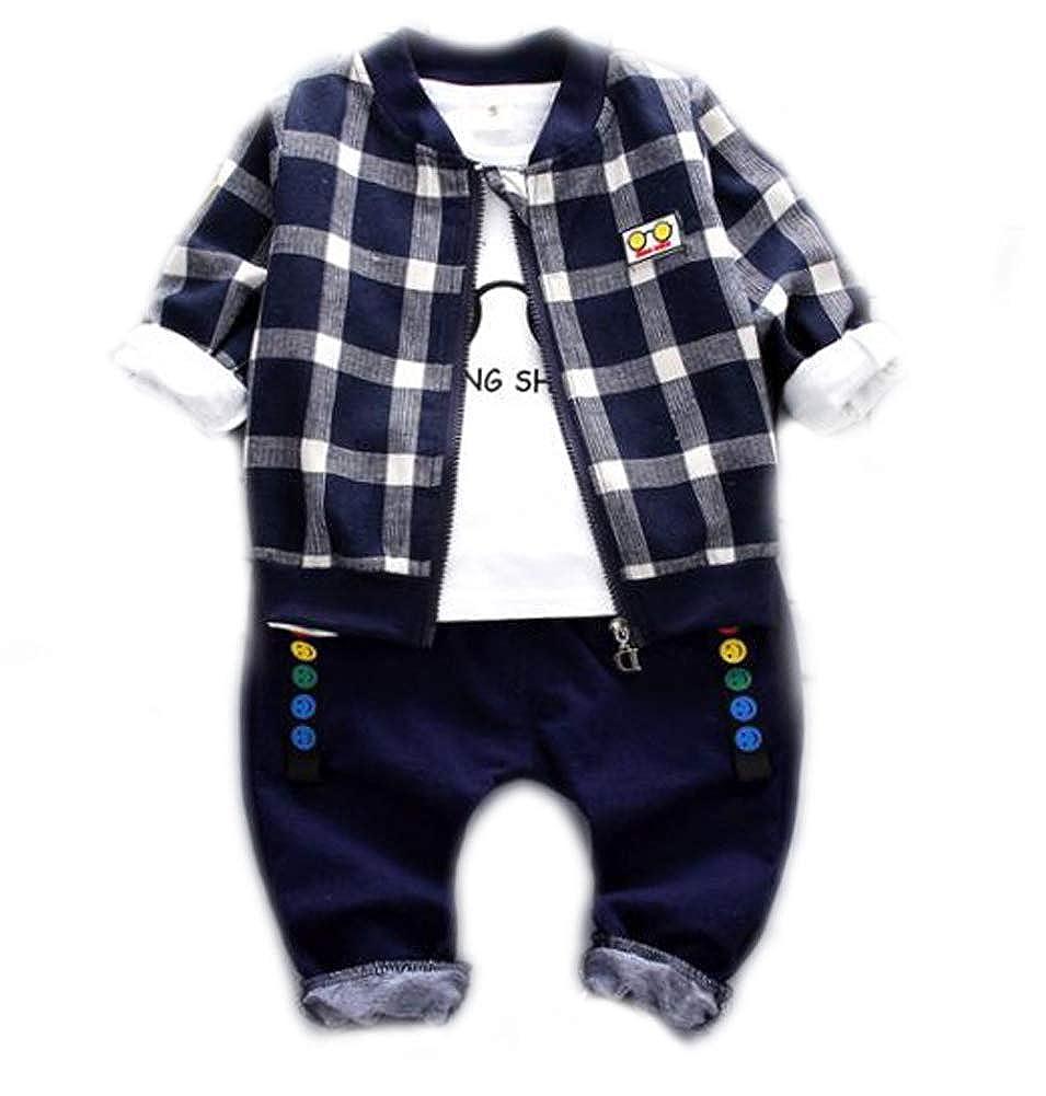 HLWLWOLFOYC Baby Junge 3 Stück Kleidung Set Plaid Langarm Jacke + Weiß Tops + Lange Hose für 0-48 Monaten HLWLWOLFOYC_BTL0112