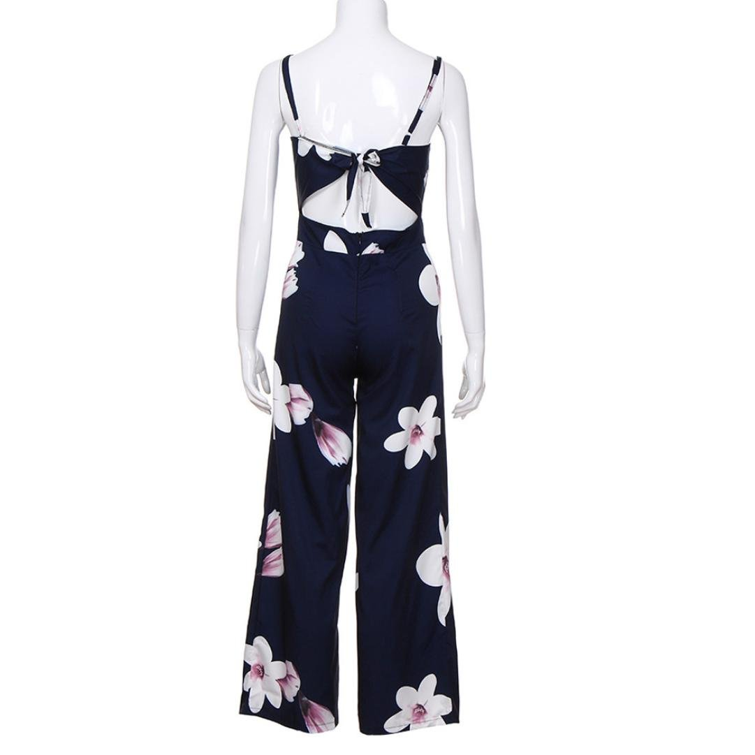 f6c456640c01 Amazon.com  Minisoya Women Backless Floral Clubwear Playsuit Casual Bodycon  Party Wide Leg Jumpsuit Romper Long Pants Trousers  Clothing