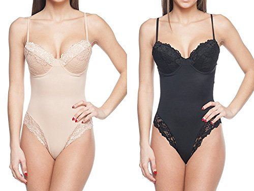 Detail Lace Trim (Body Beautiful Womens Full Body Suit Shaper With Sexy Lace Trim Details (Small, 2 Pack Black/Nude))