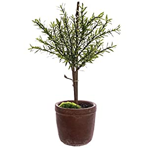 "Artificial Myrtle Ball Topiary Tree Green Plastic - 18""H 6"