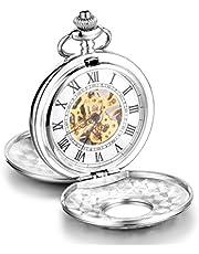 Infinite U-Coperchio alta qualità, con scheletro meccanico, numeri romani, in acciaio, grande, motivo: orologio da taschino, colore: argento, con confezione regalo, per uomo/donna