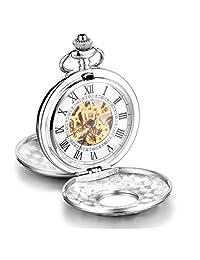 Infinite U Classic Twin-Lids Hand Wind Mechanical Pocket Watch Roman Numerals Hollow Skeleton Steel Pendant Necklace Silver