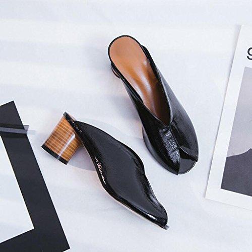 Zapatos abierta con Mid de y de Comfort tacón de punta Zapatos Zapatos moda libre alto de aire primavera Zapatillas para mujer Al Ocio playa GAOLIXIA verano de Sandalias de Negro cuero Zapatos vacaciones qtwX5U8