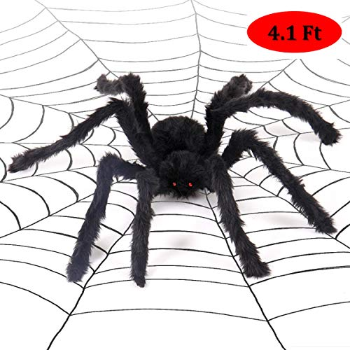 CCopnts Giant Halloween Decorations Spiders, Foldable Scary Huge Spiders Haunted House Prop, Outdoor Indoor Yard Décor (1, Black) (4.1ft)]()