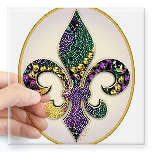 Oval Message Bead - CafePress - Fleur De Lis Mardi Gras Beads Oval Sticker - Square Bumper Sticker Car Decal, 3