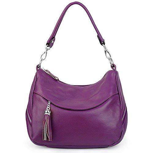 la P¨²rpura de de bolsillos Morado borla del 2179 del Crossbody Yaluxe del bolso mujeres lado doble de las cuero hombro del de bolso de UqAUgH