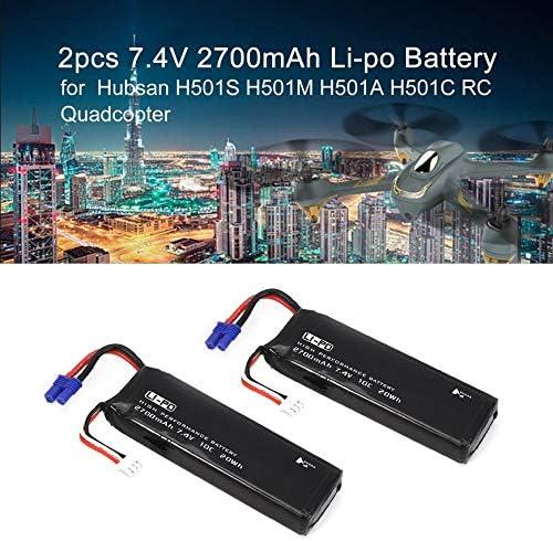 Pudincoco 2pcs 7.4V 2700mAh 10C 20Wh Li-po Kit de bater/ía de Repuesto para Hubsan H501S H501M H501A H501C RC Quadcopter Drone Negro