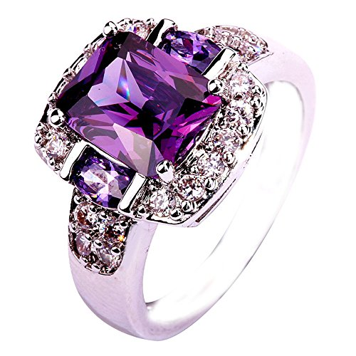 Empsoul 925 Sterling Silver Natural Chic Filled Amethyst & White CZ Halo Proposal Engagement Ring