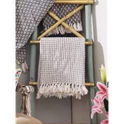 Bedroom THE BEER VALLEY Farmhouse Throws Blanket in Two Tone Honeycomb,Picnic,Camping, Beach,Throws for Couch,Everyday Use… farmhouse blankets and throws